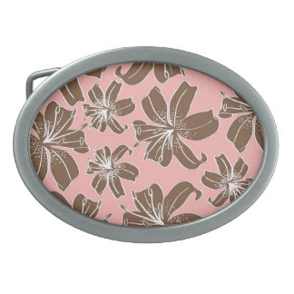 Girly Pretty Pink and Brown Floral Print Line Art Oval Belt Buckle