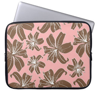 Girly Pretty Pink and Brown Floral Print Line Art Computer Sleeve