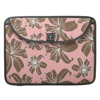 Girly Pretty Pink and Brown Floral Print Line Art Sleeve For MacBook Pro