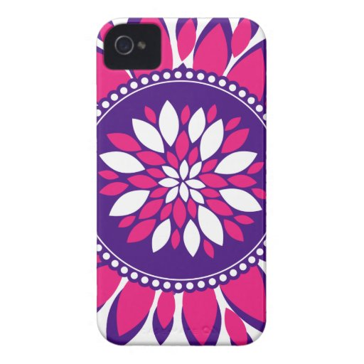 Girly Pretty Pink and Purple Flower Art Gifts Case-Mate iPhone 4 Case