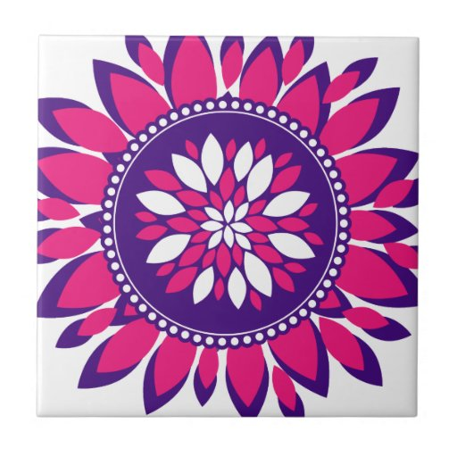 Girly Pretty Pink and Purple Flower Art Gifts Small Square Tile