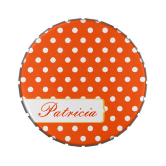Girly Pretty Red and White Polkadots Jelly Belly Candy Tins