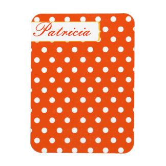Girly Pretty Red and White Polkadots Rectangular Magnets