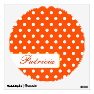 Girly Pretty Red and White Polkadots Wall Decal