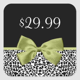 Girly Price Tags Leopard Print Stylish Green Bow Square Sticker