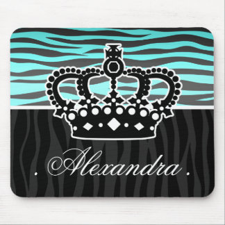 Girly princess blue and black zebra print mouse pad