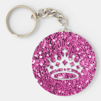 Girly Princess Crown on Pink Glitter Look Keychain