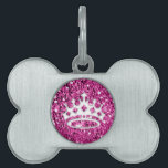 """Girly Princess Crown on Pink Glitter Look Pet ID Tag<br><div class=""""desc"""">Girly White Princess Crown on Pink Glitter Look</div>"""