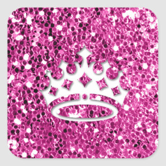 Girly Princess Crown on Pink Glitter Look Sticker