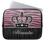 Girly princess pink and black zebra computer sleeve