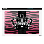 Girly princess pink and black zebra print decal for laptop