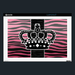 "Girly princess pink and black zebra print decal for laptop<br><div class=""desc"">A girly zebra striped pattern in pink and black with a crown.on laptop 17in skin</div>"