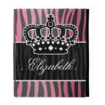 Girly princess pink and black zebra print iPad folio cover