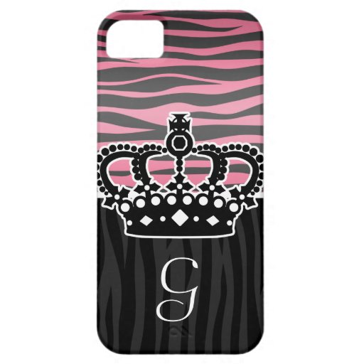 Girly princess pink and black zebra print iPhone SE/5/5s case