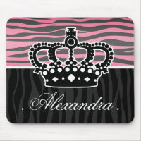 Girly princess pink and black zebra print mouse pad