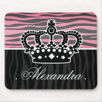 Girly princess pink and black zebra print mouse pad
