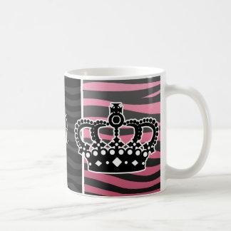 Girly princess pink and black zebra print classic white coffee mug