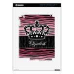 Girly princess pink and black zebra print iPad 3 skins