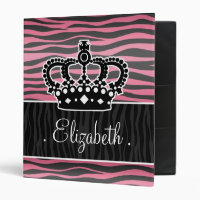 Girly princess pink and black zebra print small binder