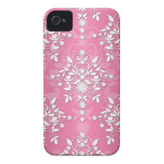 Girly Princess Pink Daisy Damask iPhone 4 Cases