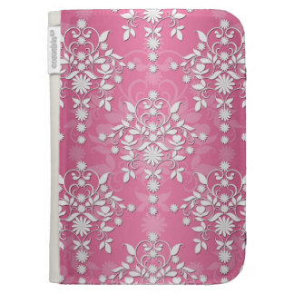 Girly Princess Pink Daisy Damask Kindle Keyboard Cases