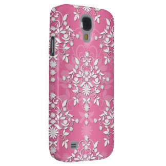 Girly Princess Pink Daisy Damask Samsung Galaxy S4 Covers