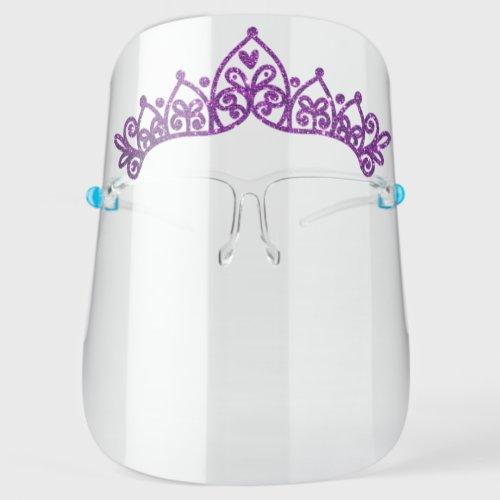 Girly Princess Tiara Purple Glitter Face Shield
