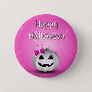 Girly Pumpkin Halloween - Button