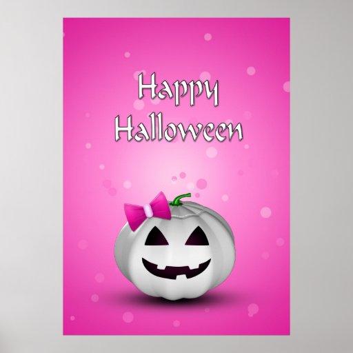 Girly Pumpkin Halloween - Poster