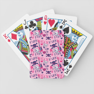 Girly Punk Rock Electric Guitars and Skulls Pink Bicycle Playing Cards