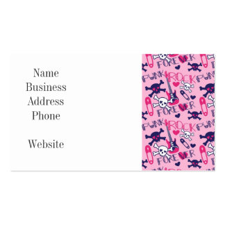 Girly Punk Rock Electric Guitars and Skulls Pink Business Card