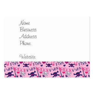 Girly Punk Rock Electric Guitars and Skulls Pink Large Business Card