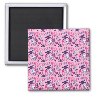 Girly Punk Rock Electric Guitars and Skulls Pink Magnet