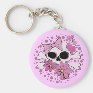 Girly Punk Skull Basic Round Button Keychain