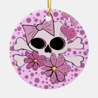 Girly Punk Skull Ceramic Ornament