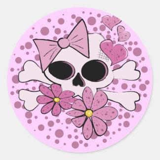 Girly Punk Skull Classic Round Sticker