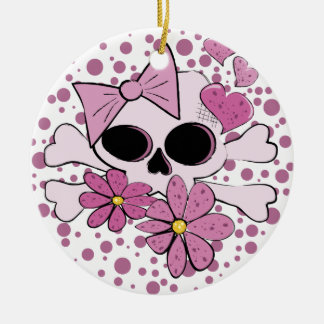 Girly Punk Skull Double-Sided Ceramic Round Christmas Ornament