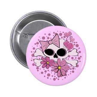 Girly Punk Skull Pinback Button