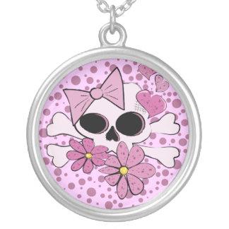 Girly Punk Skull Round Pendant Necklace