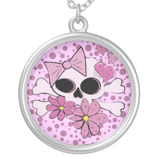 Girly Punk Skull Silver Plated Necklace