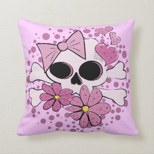 Girly Punk Skull Throw Pillow