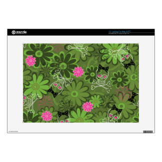 Girly Punk Skulls on Flower Camo background Decals For Laptops