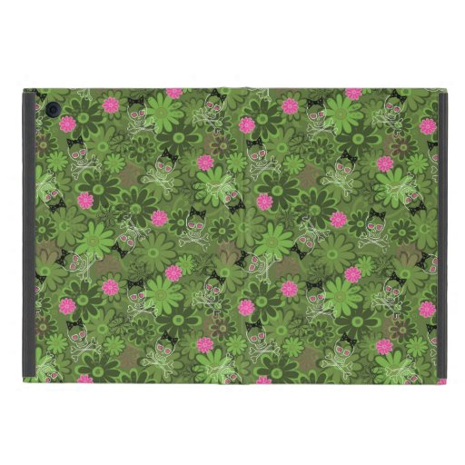 Girly Punk Skulls on Flower Camo background Cover For iPad Mini