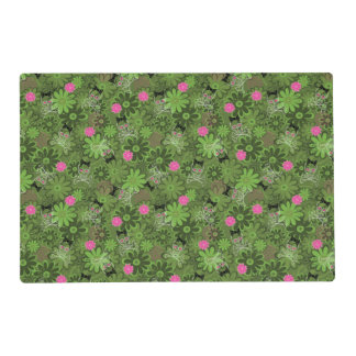 Girly Punk Skulls on Flower Camo background Placemat
