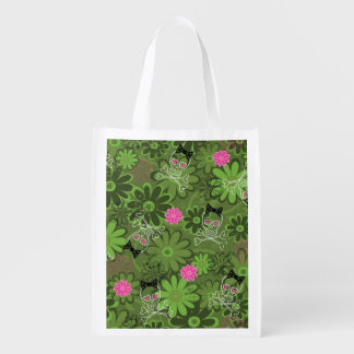 Girly Punk Skulls on Flower Camo background Reusable Grocery Bag
