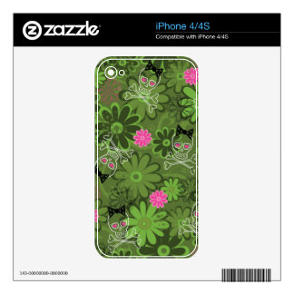 Girly Punk Skulls on Flower Camo background Skin For iPhone 4S