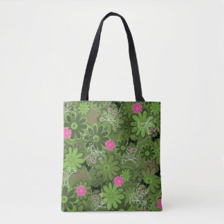 Girly Punk Skulls on Flower Camo background Tote Bag
