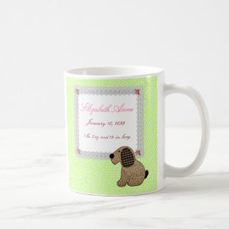 Girly Puppy Dog Baby Girl Birth Announcement Classic White Coffee Mug