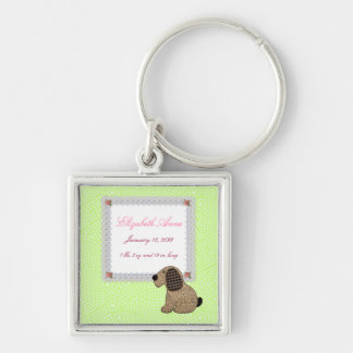 Girly Puppy Dog Baby Girl Birth Announcement Keychain