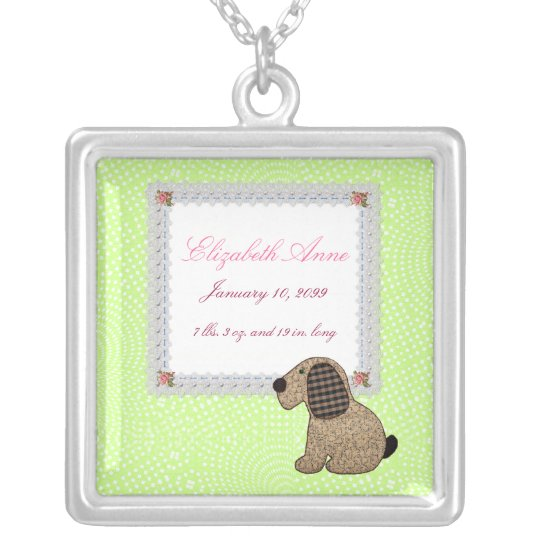 Girly Puppy Dog Baby Girl Birth Announcement Silver Plated Necklace